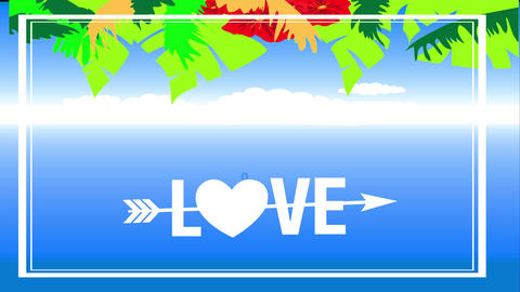 tropical valentines day holiday text with words love you crossed by an arrow and a heart replacing Animation
