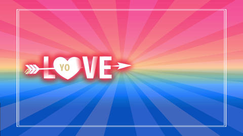 valentines day background with cupid arrow traversing word love written with big lettering and a Animation