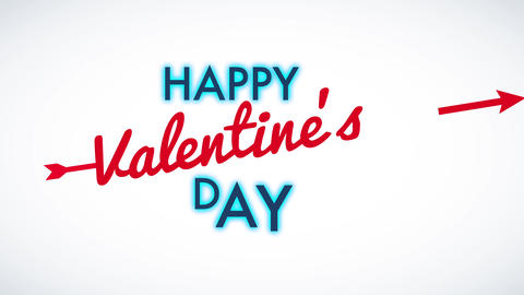 smiling valentines day celebration with words floating on blank background manipulation fashionable Animation