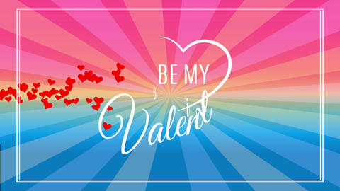exist my valentine text with california fancy using cursive offset surrounded by fingers drawn heart Animation