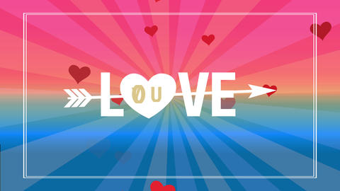 valentines day scene with cupid arrow traversing language love written with huge typing and a heart Animation