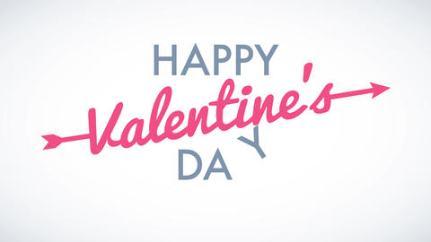 happy valentines day celebration with words floating on blank background using modern font lettering Animation