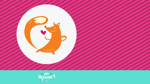 lovely tender animal valentines day of orage dancer fox with long tail grinning at miniature red Animation