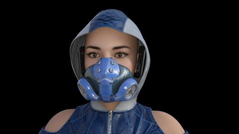 3D model girl in a sfiladring mask, portrait, animation, transparent background Live Action