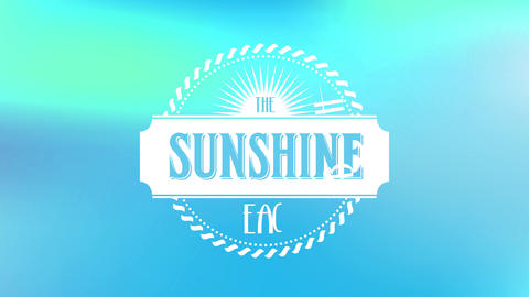 the sunshine beach written inside old fashioned graphic made with rounded braid and train ticket Animation