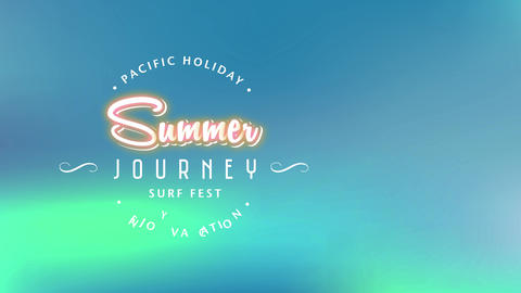 pacific holiday adore holiday script surrounding summer expedition surfboard fest written with Animation