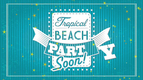 subtropical seaside party soon announcement with text cutted from coloured vertical rectangular Animation