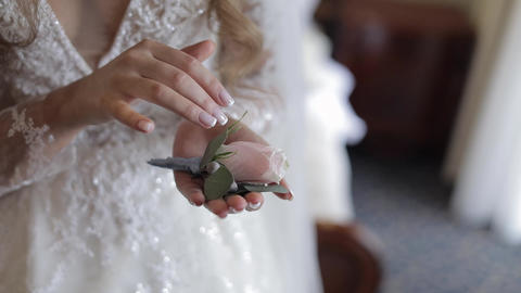 Beautiful, lovely bride in wedding luxury dress, veil. Wedding bouquet in hands Live Action