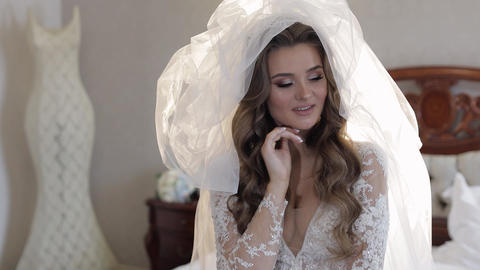 Beautiful, lovely bride in wedding luxury dress and veil. Pretty gorgeous woman Live Action