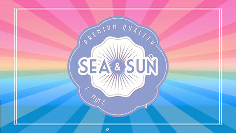 premium quality sea and sun summer paradise text written inside and around wavy rounded graphic over Animation