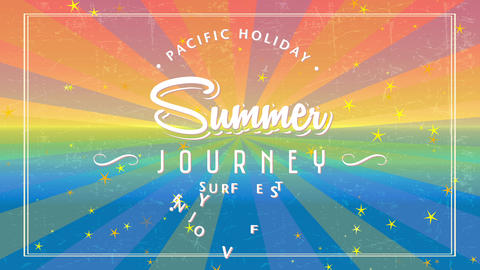 summer journey surfboard fest written with flowing and fashionable typography surrounded by words Animation