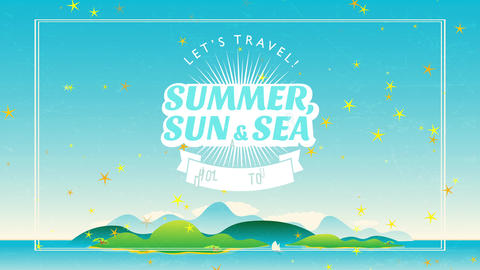 summer sun and offshore written in script lets travel and holiday trip over scene with isle Animation