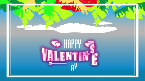 laughing valentines day warm fancy with palm leafs and colourful red hawaiian vegetation forming Animation