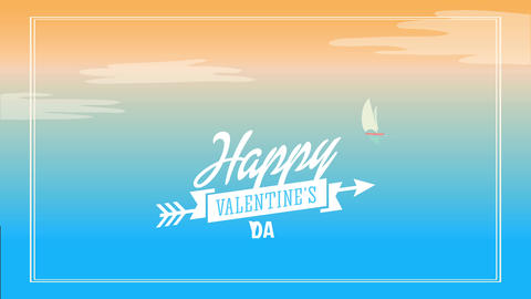 happy valentines day art with italic lettering garnished with cupid arrow on background designed and Animation