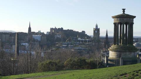 Famous Calton Hill in Edinburgh - EDINBURGH, SCOTLAND - JANUARY 10, 2020 Live Action