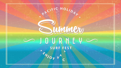 summer journey surf fest written with cursive and modern typography surrounded by words pacific Animation
