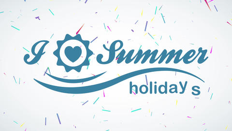 summertime leisure written with classical typography and a size heart inner a border replacing the Animation