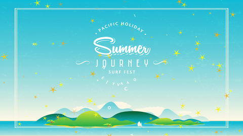 50s style travel agency concept with writing forming disk around script summer excursion surf fest Animation