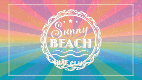 summer beach surf club using vintage typography and colors on background with text written inside Animation