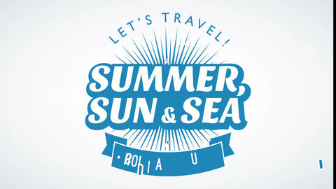 lets travel holiday tours summer sun and sea written as unified symbol to promote trips sales or Animation