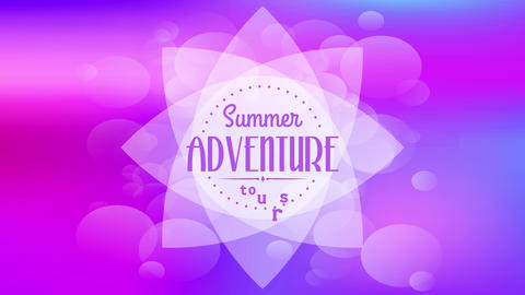 psychedelic summer adventure tours written with text written inside dotted circle drawn above Animation