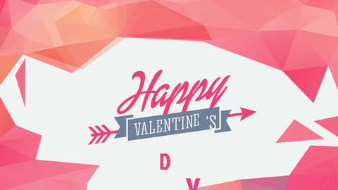 happy valentines day written with different typography with ribbon traversed by arrow in the middle Animation