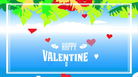 laughing valentines day subtropical style with palm leafs and vibrant red hawaiian ornament forming Animation