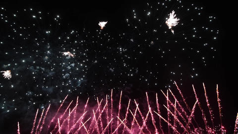 Fireworks in the night sky, isolated on black background Live Action