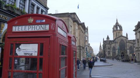 Red Telephone Booth at Edinburgh - EDINBURGH, SCOTLAND - JANUARY 10, 2020 Live Action