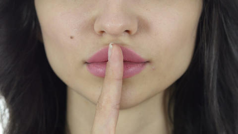 Lips Close Up, Gesture of Silence, Fingers on Lips Live Action
