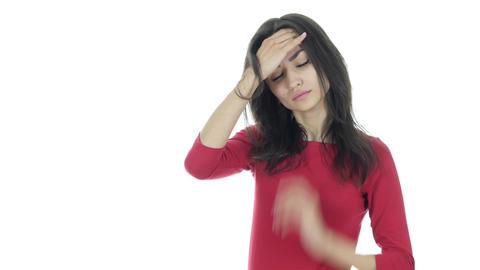 Headache, Frustration, Tense Beautiful Brunette Woman Footage