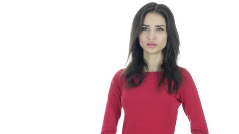 Yelling, Angry Beautiful Brunette Woman Fighting, White Background Footage