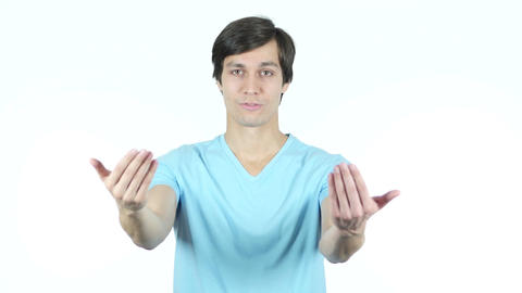Join Us, Inviting Gesture by Young Casual Man, White Background Live Action