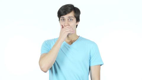 Shock, Upset Man Reaction, White Background Footage