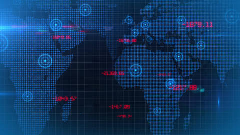 Business financial corporate data network world map background loop 04 Animation