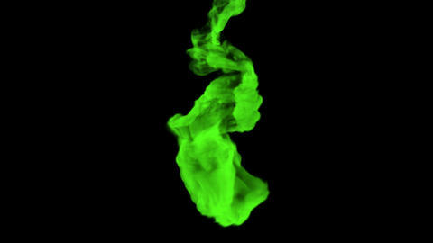 Green substance is dissolving in a dark liquid, 3D animation with alpha mask Animation