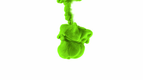 Green substance is dissolving against white 3D animation with alpha mask Animation