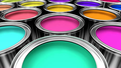 3D animated looping pan over the colorful paint cans Animation