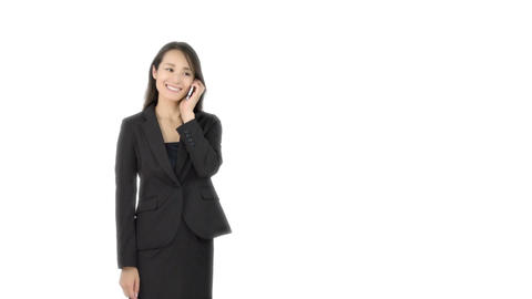 Japanese business woman talking on iphone 1 Live Action