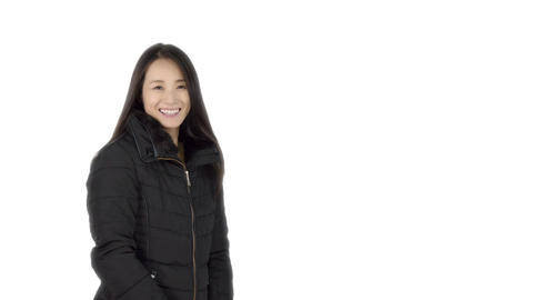 Japanese woman wearing coat in winter and smilling Footage