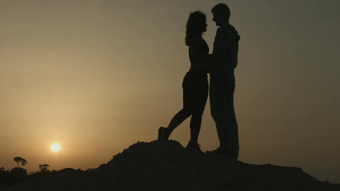 Young man and woman in love hugging passionately, kissing. Romantic feelings Footage