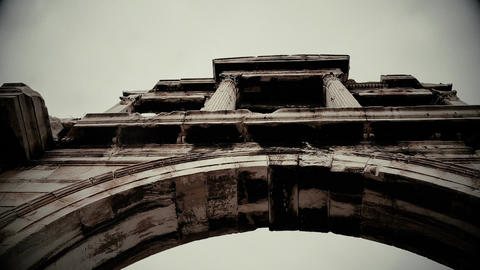 Black and white shot of Hadrian's Arch in old documentary movie. Athens, Greece Live Action