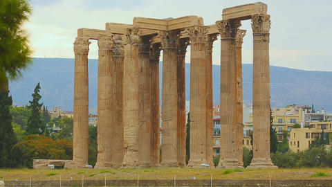 Ruins of Temple of Olympian Zeus in Athens, popular tourist attraction in Greece Live Action