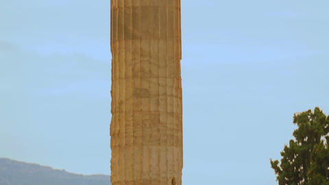 Ruins and column of the Temple of Olympian Zeus in Athens, tourist attraction Footage