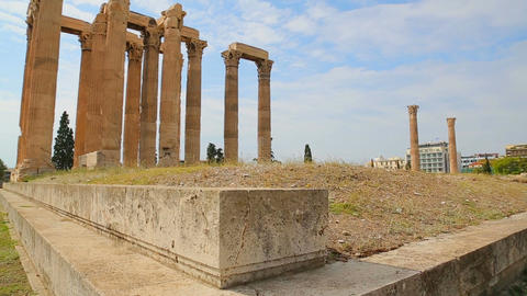 Place of interest for tourists in Athens, ruins of Olympieion, travel to Greece Live Action