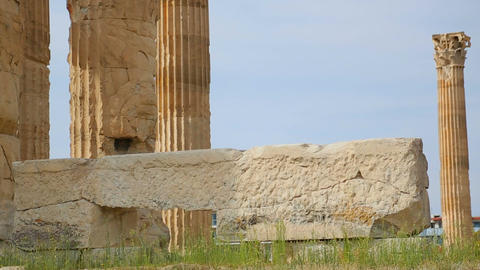 Historic monument of ancient architecture, temple ruins, Greek national heritage Live Action