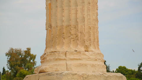 Ancient marble column, classical Greek architecture detail, cultural heritage Footage