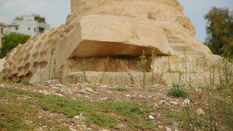 Remains of ancient column made of Pentelic marble, archaeological excavations Footage