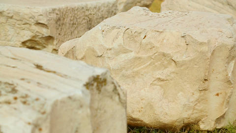 Huge Pentelic marble stones on archeological excavation site, antique ruins Footage