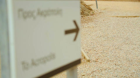 Information pointer arrow showing way to Acropolis, sightseeing trip, tourism Footage